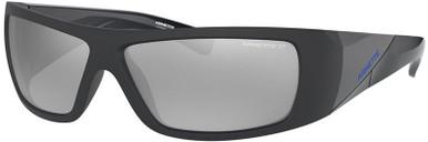 Matte Transparent Blue/Dark Grey Silver Mirror Polarised Lenses