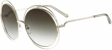 Carlina Round - Gold and Transparent Green/Brown Gradient Lenses