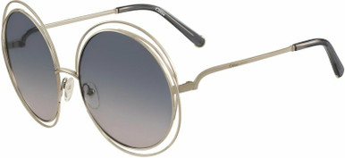 Carlina Round - Gold and Transparent Grey/Blue Gradient Lenses