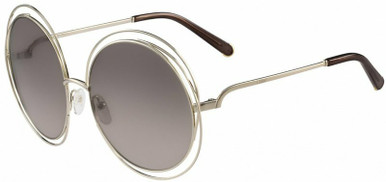 Carlina Round - Gold and Transparent Brown/Grey Gradient Flash Lenses