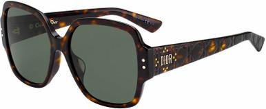 Lady Dior Studs 5F - Dark Havana/Green Lenses