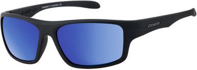 Sonic - Satin Black Grey/Blue Mirror Polarised Lenses