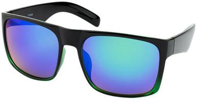 7702 - Black Green Fade/Blue Mirror Lenses