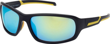 7025 - Matte Black and Yellow/Yellow Blue Mirror Lenses