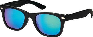 Matte Black/Green Blue Mirror Lenses