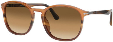 PO3215S - Black and Striped Brown/Brown Gradient Lenses