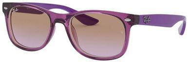 9052S Junior New Wayfarer - Transparent Fuchsia/Violet Gradient Brown Lenses