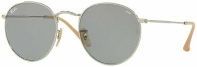 Round Metal RB3447 - Silver/Blue Photochromic Glass Lenses 50 Eye Size