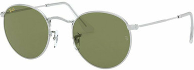 Round Metal RB3447 - Silver/Bottle Green Glass Lenses 53 Eye Size