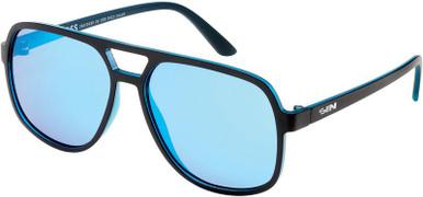 The Boss - Matte Black/Blue Flash Polarised Lenses