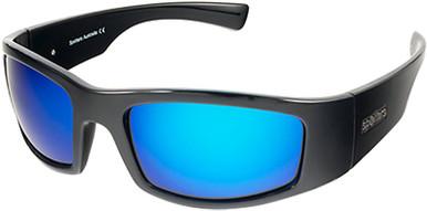 Coyote + - Gloss Black/Blue Mirror Glass Polarised Lenses