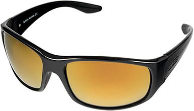 Cruiz - Gloss Black/Gold Mirror Glass Polarised Lenses