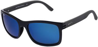 Chill - Gloss Black and Matte Hybrid/Blue Mirror Glass Polarised Lenses