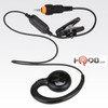 Single pin non-adjustable cord earpiece w/inline PTT - A compact and lightweight communications earpiece designed for use with CLP-series radios. It has an inline PTT microphone that clips to your clothing for convenient use..  Part # HKLN4455