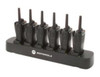 The 6-slot multi-unit charger saves time by copying settings from single radio to fleet of radios. It requires only a single outlet rather than several to preserve space and is compatible with Motorola RDx series 2-way radios (radios not included).