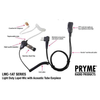 Pryme LMC 1AT light duty lapel mic with surveillance style acoustic tube earphone from Motorola, Kenwood, Icom, Talkabouts... Great Value and better quality.