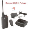 Motorola RDV-5100 VHF two way radio has a drop-in charger, Antenna, Belt Clip and 18 hour lightweight lithium rechargeable battery.  You get Six of each in our Six Pack value package.