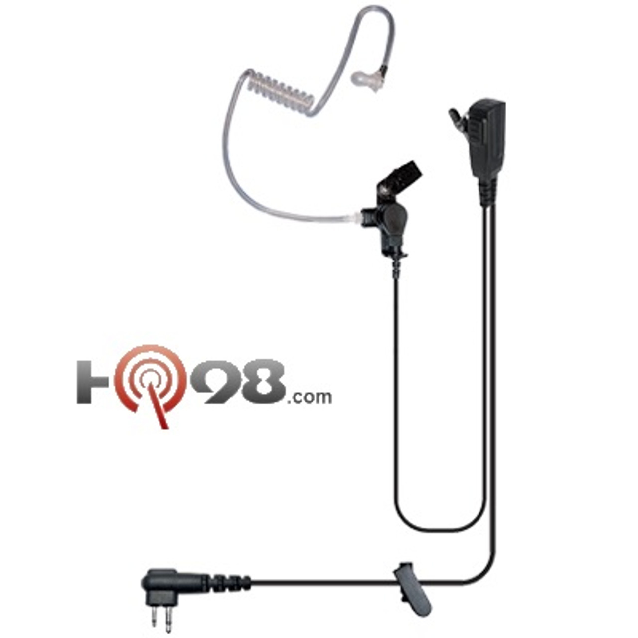 COILED AUDIO ACOUSTIC TUBE EARPIECE WITH EAR HOOK FOR RADIO HEADSET EARPHONE MIC