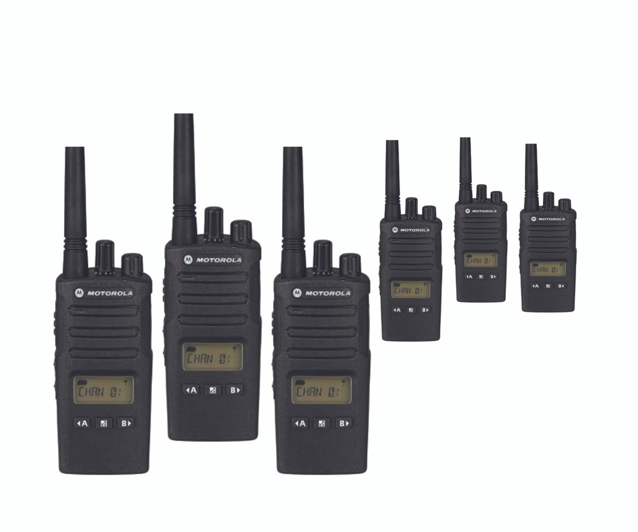 Motorola RMU2080d 2-Way Six Pack 8CH Display UHF Radios