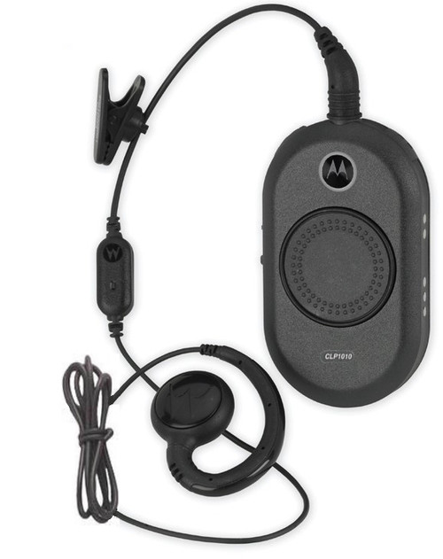 Designed for the retail and hospitality markets, the CLP1010 business Motorola two way radio operates on 1 channel with a choice of 90 UHF business-exclusive frequencies. This unique palm-sized device is 40 percent smaller and 50 percent lighter than similar two-way radios in its class.