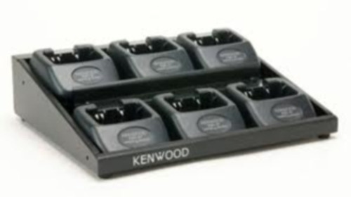 The Kenwood KMB-27 multi-unit charging adapter allows you to charge a fleet of up to 6 radios at once. Simply connect your existing charger base into the KMB-27 housing to save space and use less power outlets. Chargers are not included.