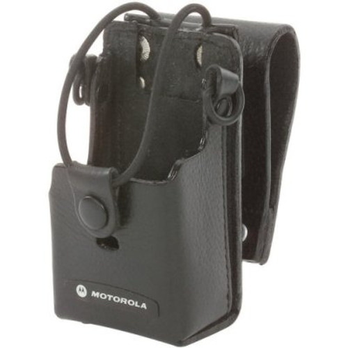 """Motorola Hard Leather Case with 3"""" Swivel - Heavy-duty leather holster keeps radio within reach. Swivel makes activity such as kneeling or bending more comfortable. RLN6302"""