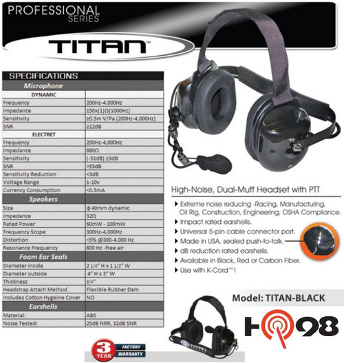 OEM Titan Noise Canceling Pro Grade Headset by Klein