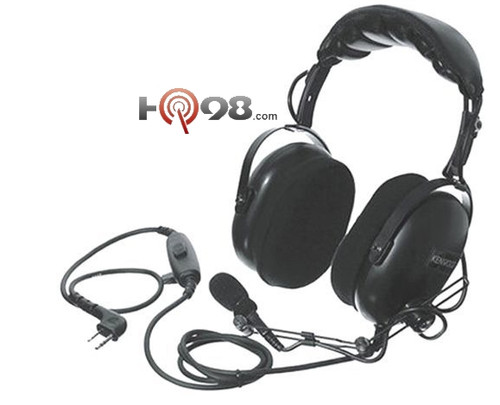 Kenwood KHS-10-OH - Heavy Duty Dual Muff Over-the-Head Headset w/Boom Mic, w/In-Line PTT