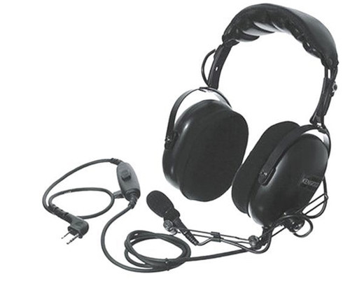 Kenwood KHS-10-OH - Heavy Duty Dual Muff Over-the-Head Headset w/Boom Mic, w/In-Line PTT