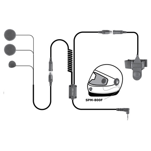 Pryme SPM800 F Full Face Headset is a Medium duty, in-helmet motorcycle mic system with powerful in-helmet speakers allow the user to hear radio transmissions over road noise. Handlebar mountable Push-To-Talk switch for convenient communications.