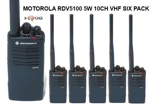 Motorola RDV5100 Six Pack 5 Watt 10 CH VHF Business Radios