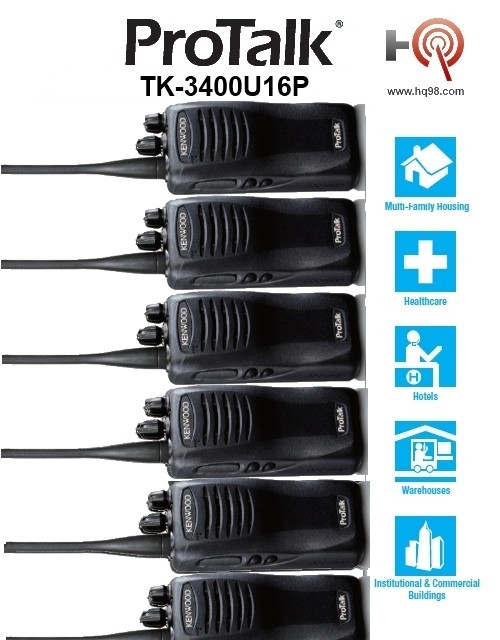 TK3400 offers plenty of privacy with a frequency scrambler. Hands-free (VOX) operation is supported when used with optional accessories. The Kenwood TK-3400-U16P is also water and dust resistant.  A Great Buy!