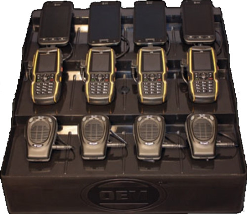 Charges cell phone, adapters, any USB product.  Includes 12 USB plugs and one AC 120V plug.