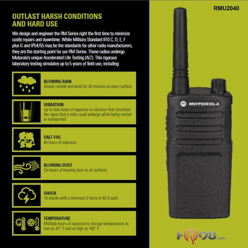 Motorola RMU2040 Six Pack of 2-Way 4CH 2W UHF Business Radio
