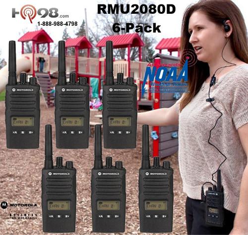 Motorola RMU2080d 2-Way Six Pack 8CH Display UHF Radios