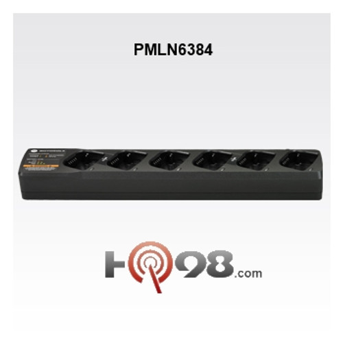 This PMLN 6384 multi-unit charger with LED battery status light lets you charge up to six radios simultaneously. The smart-charge feature detects when there are fewer than six radios in the charger and allows for faster charging. You can also conveniently clone your RM series radios using the first 2 pockets of this multi-unit charger.