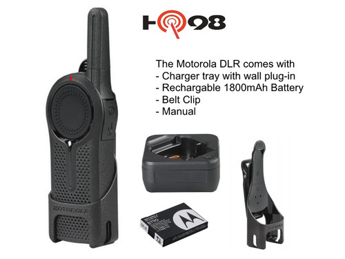 The Motorola DLR package includes Charger tray with wall plug in, belt clip, rechargable Lithium Ion Battery and manuals.