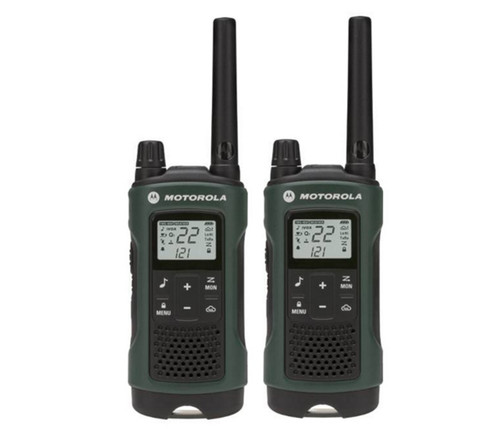 FRS/GMRS radios supports 22 channels and 121 privacy codes per channel with up to 35 miles of range with this Motorola T465.