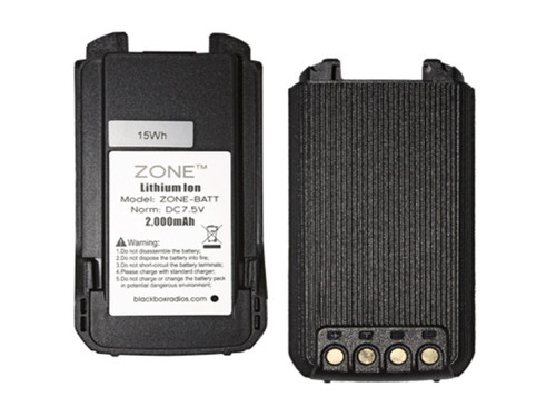 "The new Blackbox ""Zone"" is a Compact, Rugged, Full Power Radio that uses a 2000 mAh Lithium Ion Battery. This battery is the spare or replacement battery for the Zone and Zone KB."