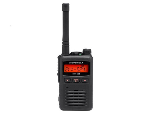 The Motorola EVX-S24. Weighing only 7.6 ounces, this radio is a great choice for use on large job sites, construction, farming and much more.
