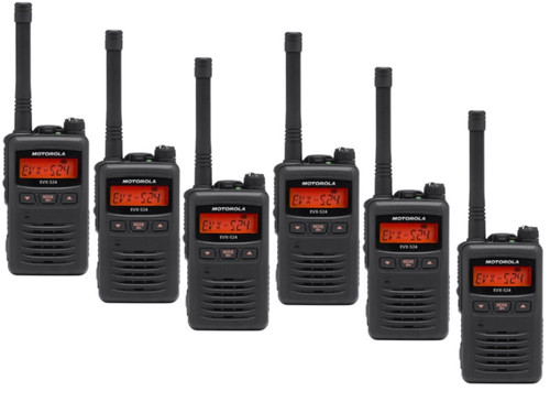The Motorola EVX-S24. Weighing only 7.6 ounces, this radio is a great choice for use on large job sites, construction, farming and much more. Everything is better with a 6 Pack.