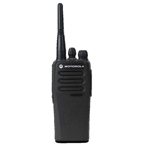 "The CP200D UHF or VHF comes with a Standard Antenna, Rapid Charger and Power Supply,   Rechargeable 2250 mAh Lithium Ion battery, 3"" Belt Clip and a Owner's Manual."