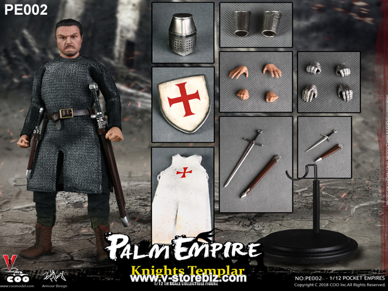 1//12th COOMODEL Knights Templar Model Palm Empire Series NO.PE002 Collection Toy
