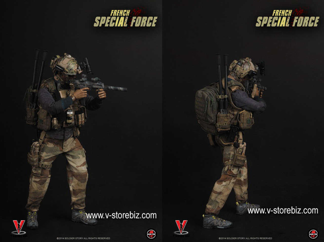 1//6 Scale French Special Forces Sniper Exclusive A-TACS Camo Multicam Molle Vest