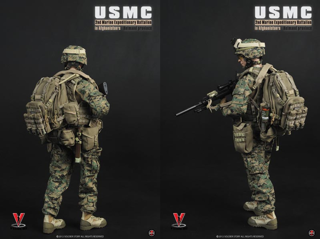 1:6 Scale SS066 USMC Marines Male Head Carving FOR 12/'/' Figure Body