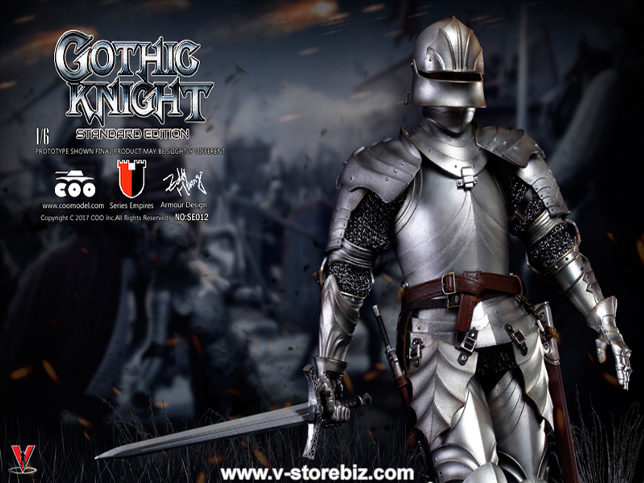 1//6 Figure COOMODEL SERIES OF EMPIRES METAL Gothic Armour Knight Standard VER