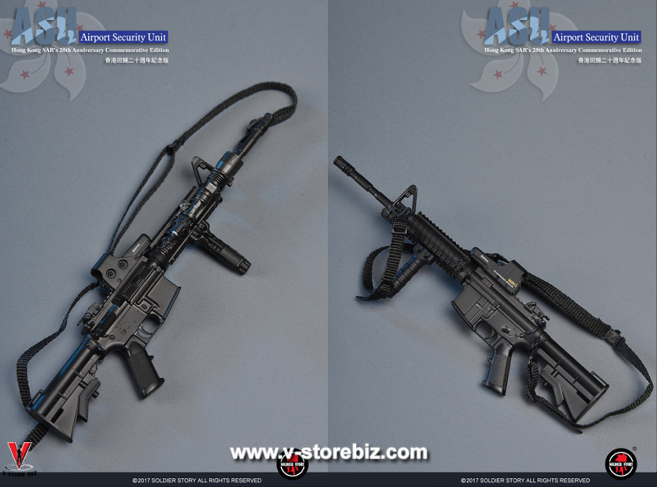 1//6 Scale Toy Police K-9 Division Assault Rifle w//Flashlight /& Adjustable Stock