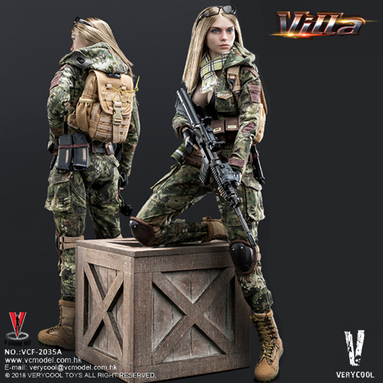 1//6 scale toy Female Shooter Box Crate Python Villa