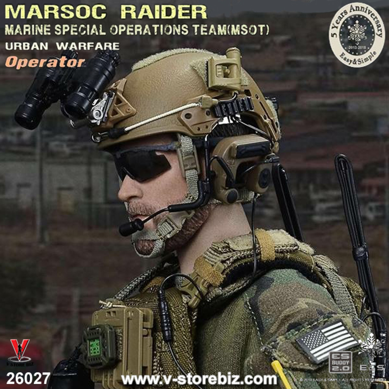 Helmet /& NVG for Easy/&Simple ES 26027 MSOT MARSOC RAIDER 1//6 Scale 12/'/' Figure