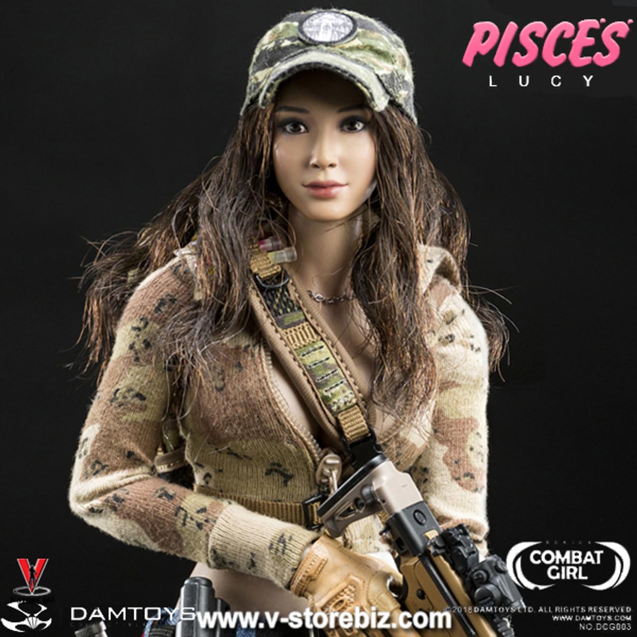 Head Sculpt for DAMTOYS DAM DCG004 Combat Girl Series PISCES Lucy 1//6 Scale 12/'/'